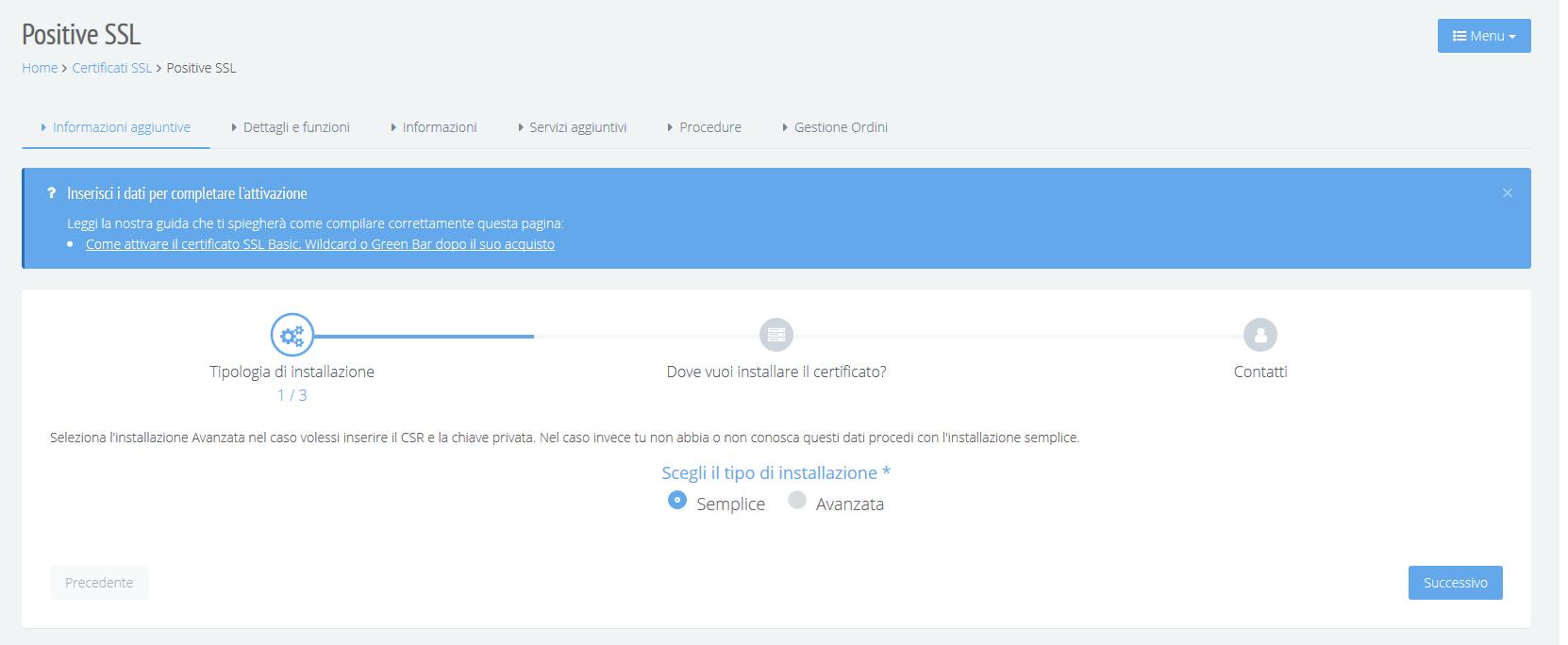 Attivazione certificato SSL