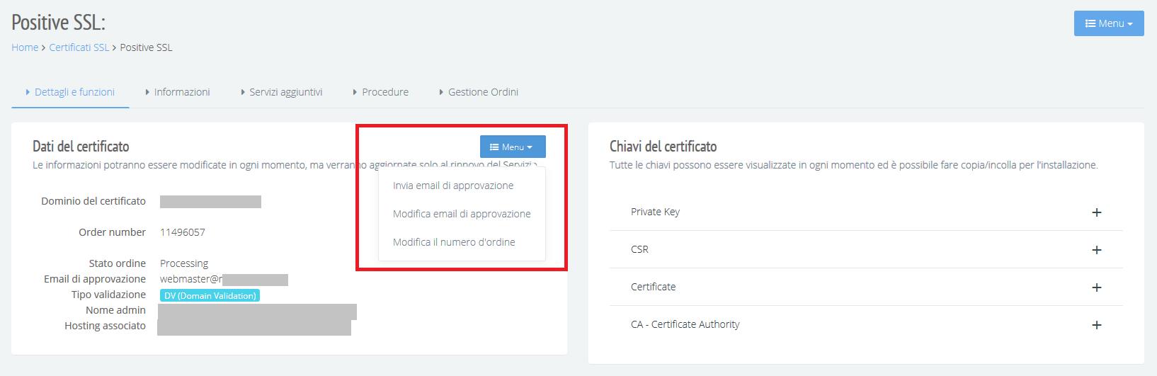 Attivazione e rinnovo certificato ssl approver email