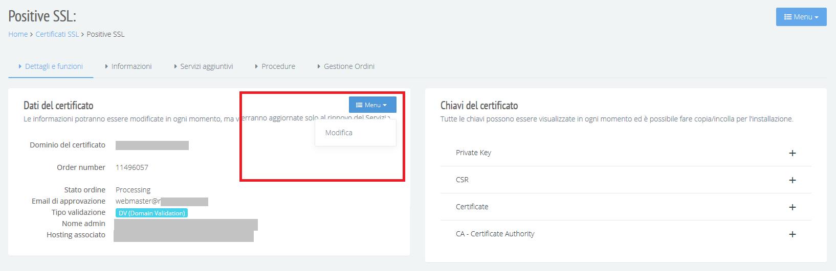 Modifica contatti certificato SSL