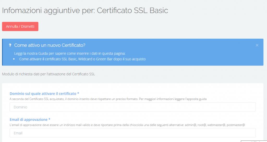certificato modulo
